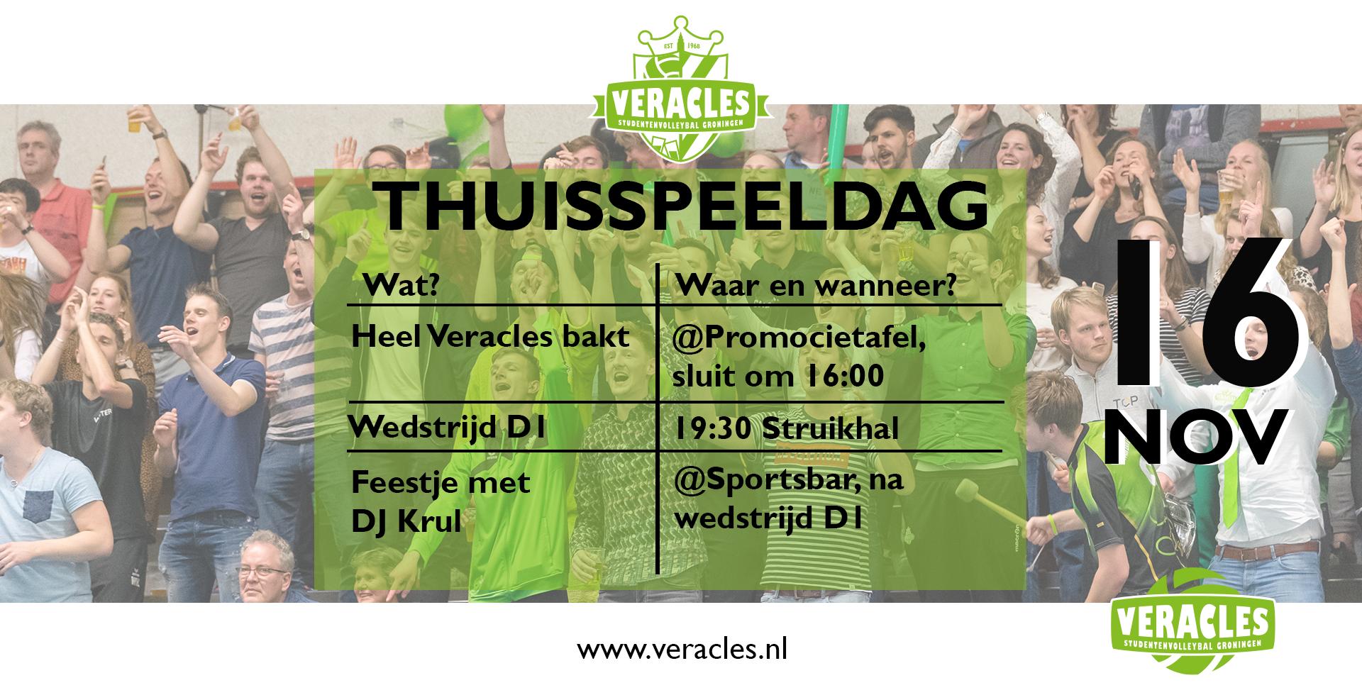 Thuisspeeldag + feestje in De Sportsbar 16 nov!